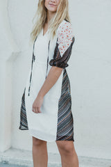The Zoe Puff Sleeve Shift Dress in White