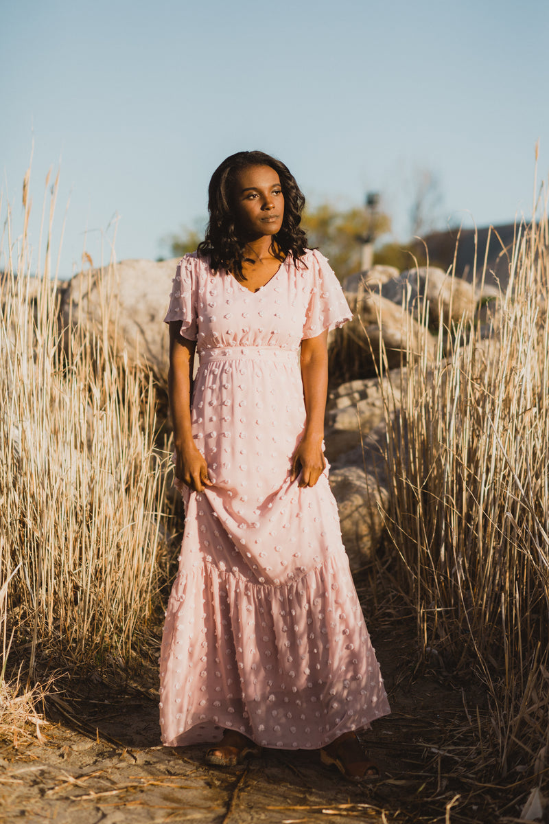 Piper & Scoot: The Commotion Swiss Dot Maxi Dress in Blush