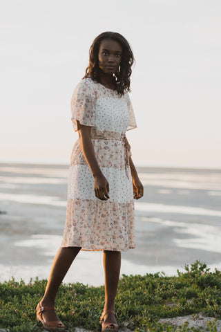 Piper & Scoot: The Dew Floral Knot Dress in Ivory