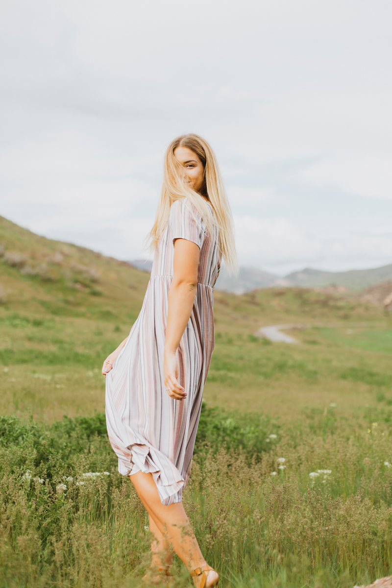 The Sullivan Striped Empire Dress in Lavender