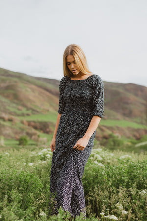 Piper & Scoot: The Siena Dot Smocked Maxi Dress in Navy