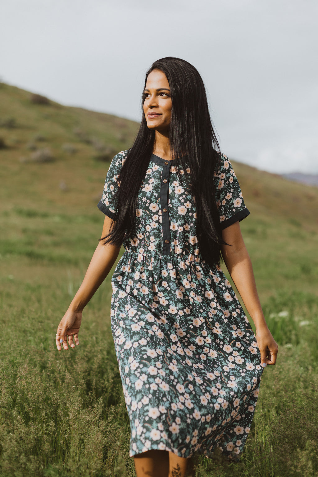 Piper & Scoot: The Retrospeck Floral Dress in Teal