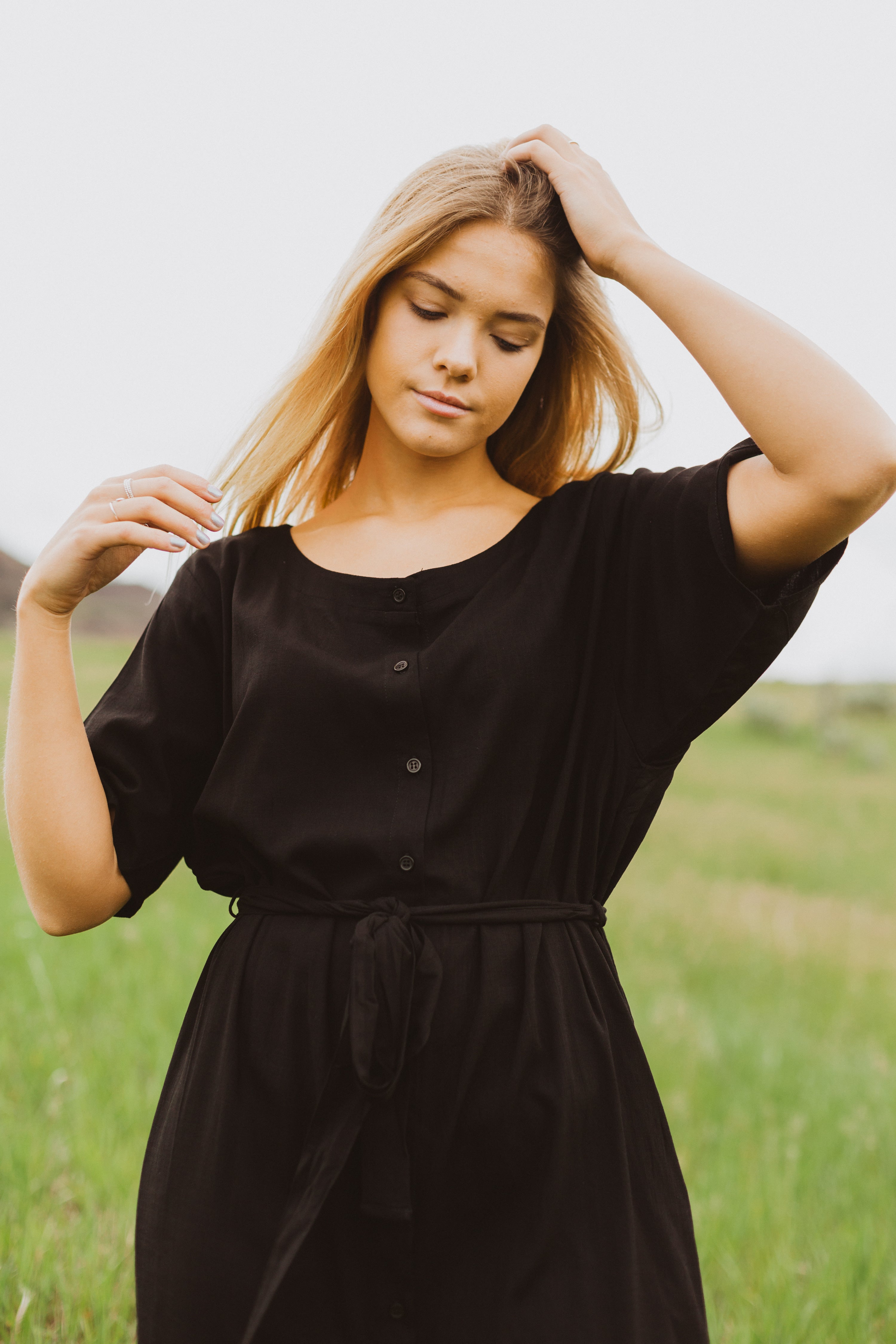 The Twins Button Gauze Dress in Black