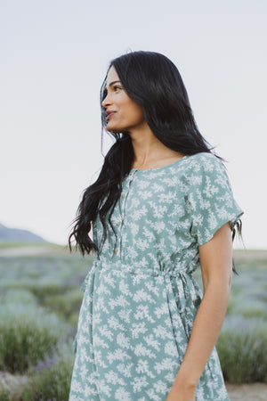 Piper & Scoot: The Layton Floral Bib Dress in Sage