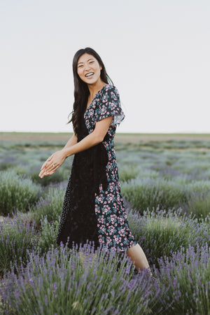 Piper & Scoot: The Patina Mixed Floral Wrap Dress in Black