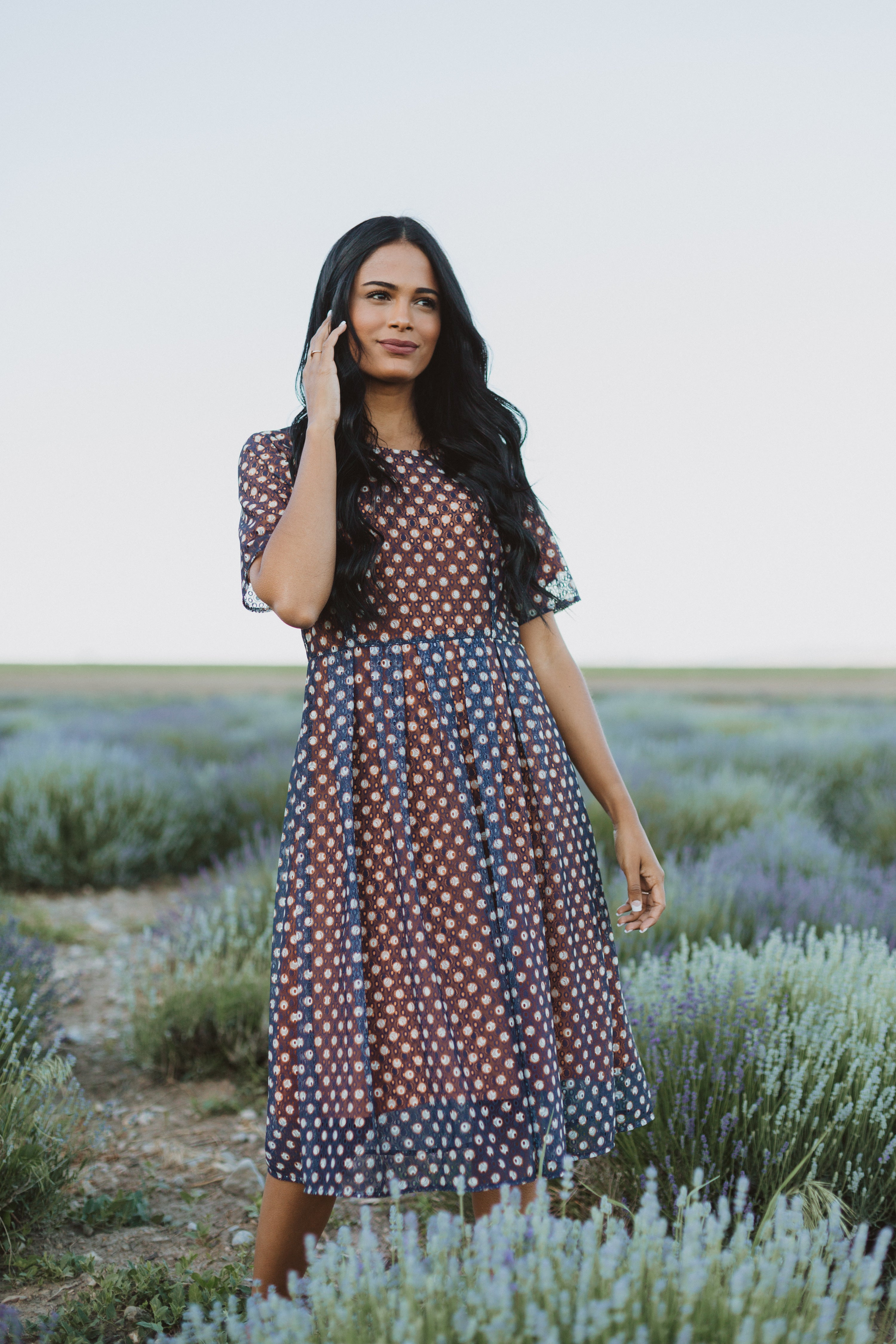 The Cella Eyelet Dress in Navy