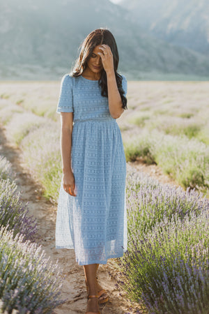 The Warren Lace Midi Dress in Periwinkle