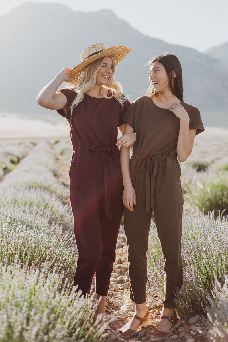 Piper & Scoot: The Bianca Cinch Jumpsuit in Hunter Green
