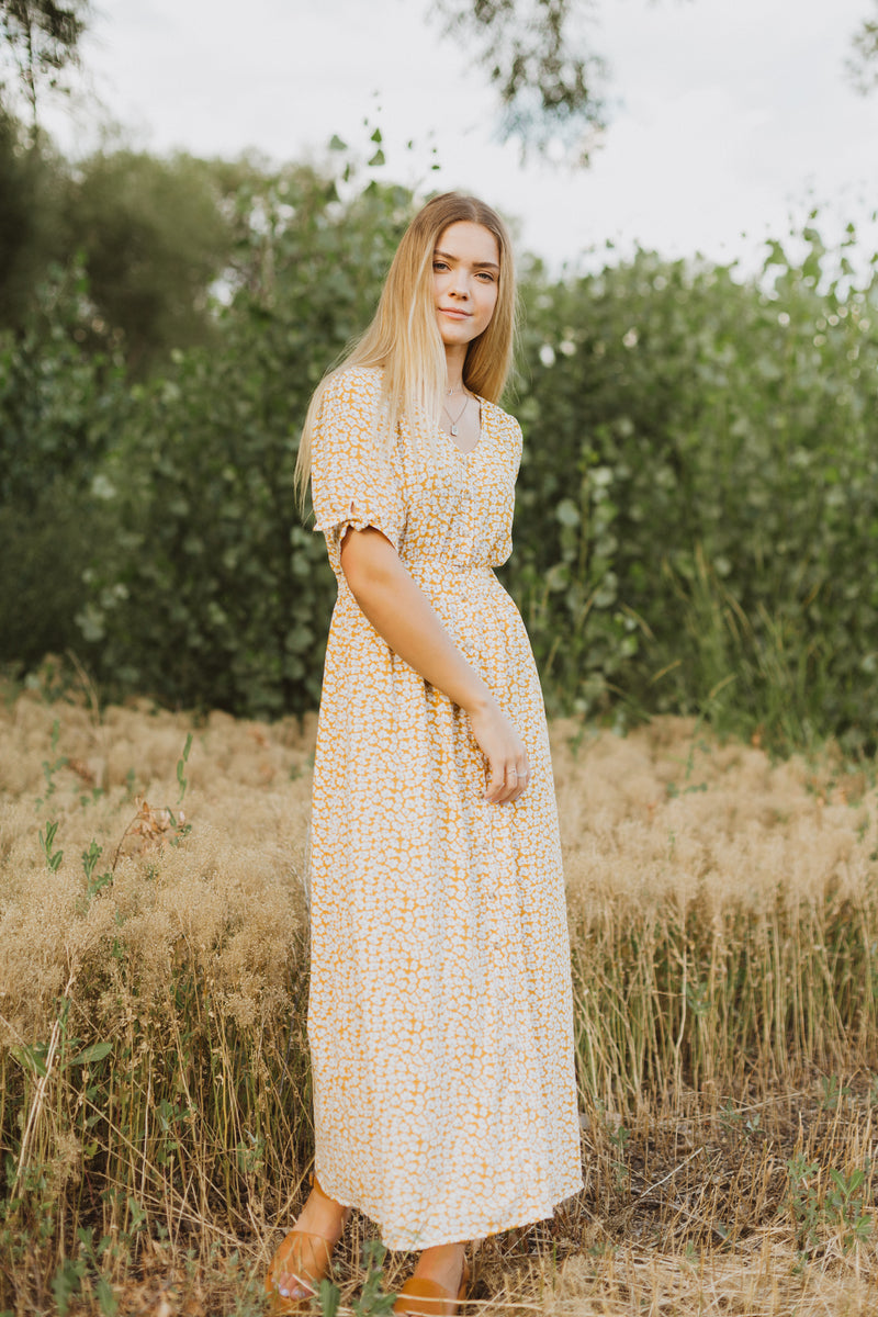 Piper & Scoot: The Amund Floral Tie Sleeve Dress in Mustard