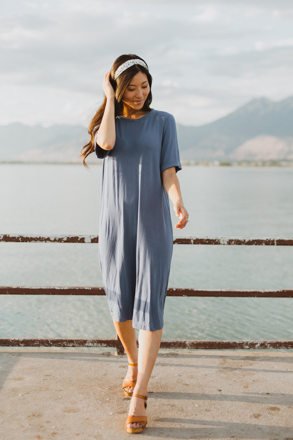 Piper & Scoot: The Prism Basic Detail Dress in Denim Blue