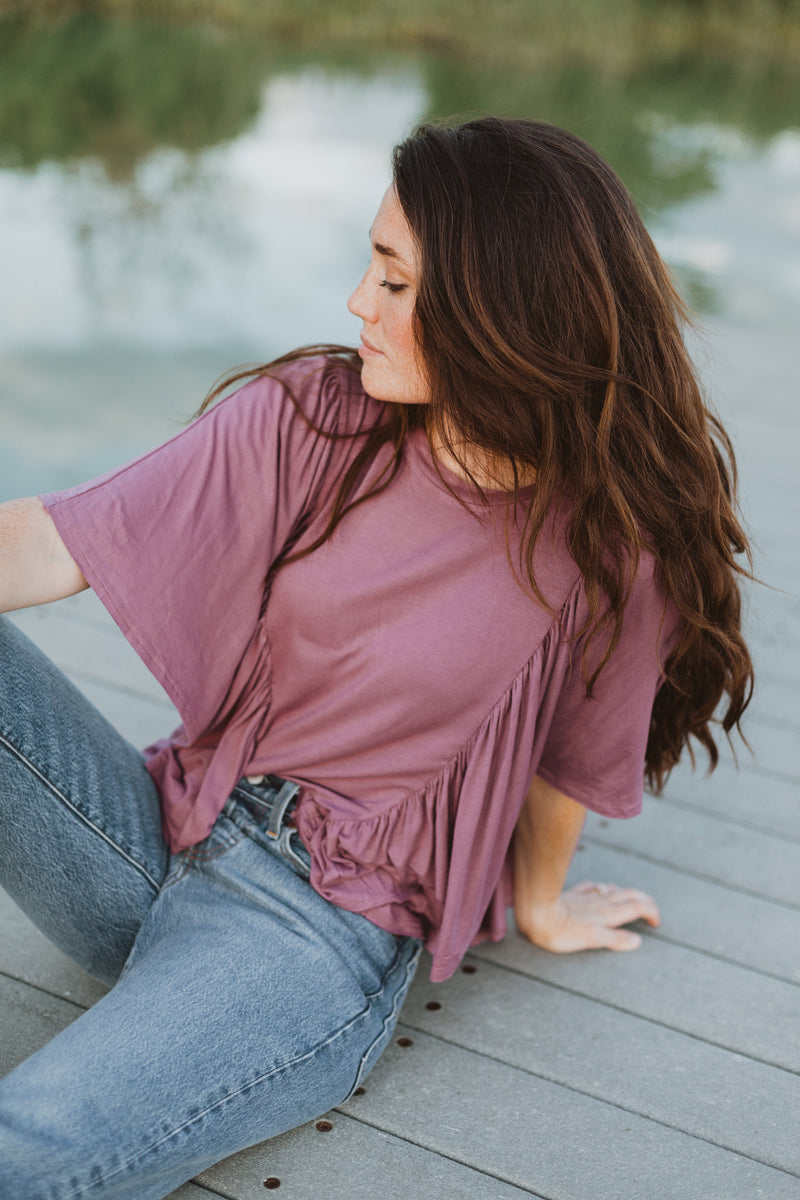 The Clarity Ruffle Blouse in Orchid