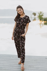Piper & Scoot: The Bianca Cinch Jumpsuit in Black Floral