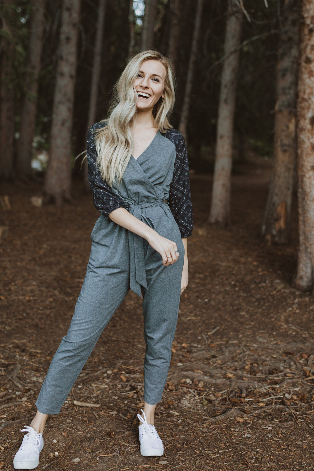 The Lunar Contrast Wrap Jumpsuit in Heather Grey