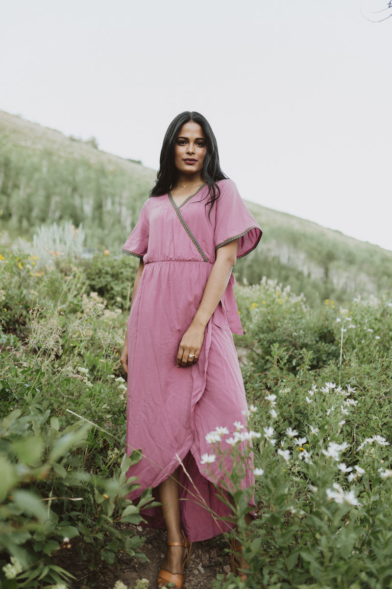 Piper & Scoot: The Presley Detail Wrap Dress in Deep Mauve, lifestyle shoot; front view