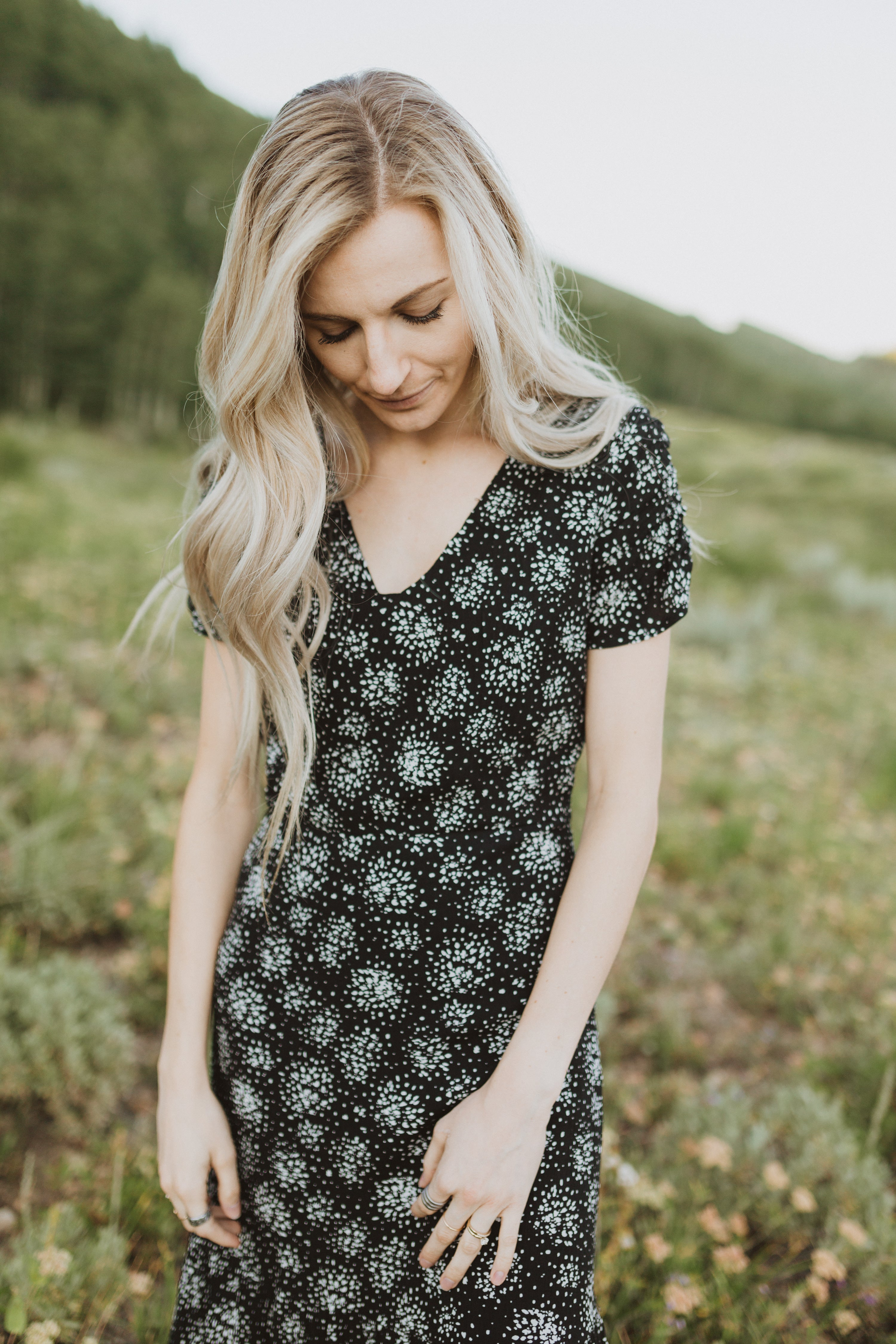The Whistle Printed Empire Dress in Black