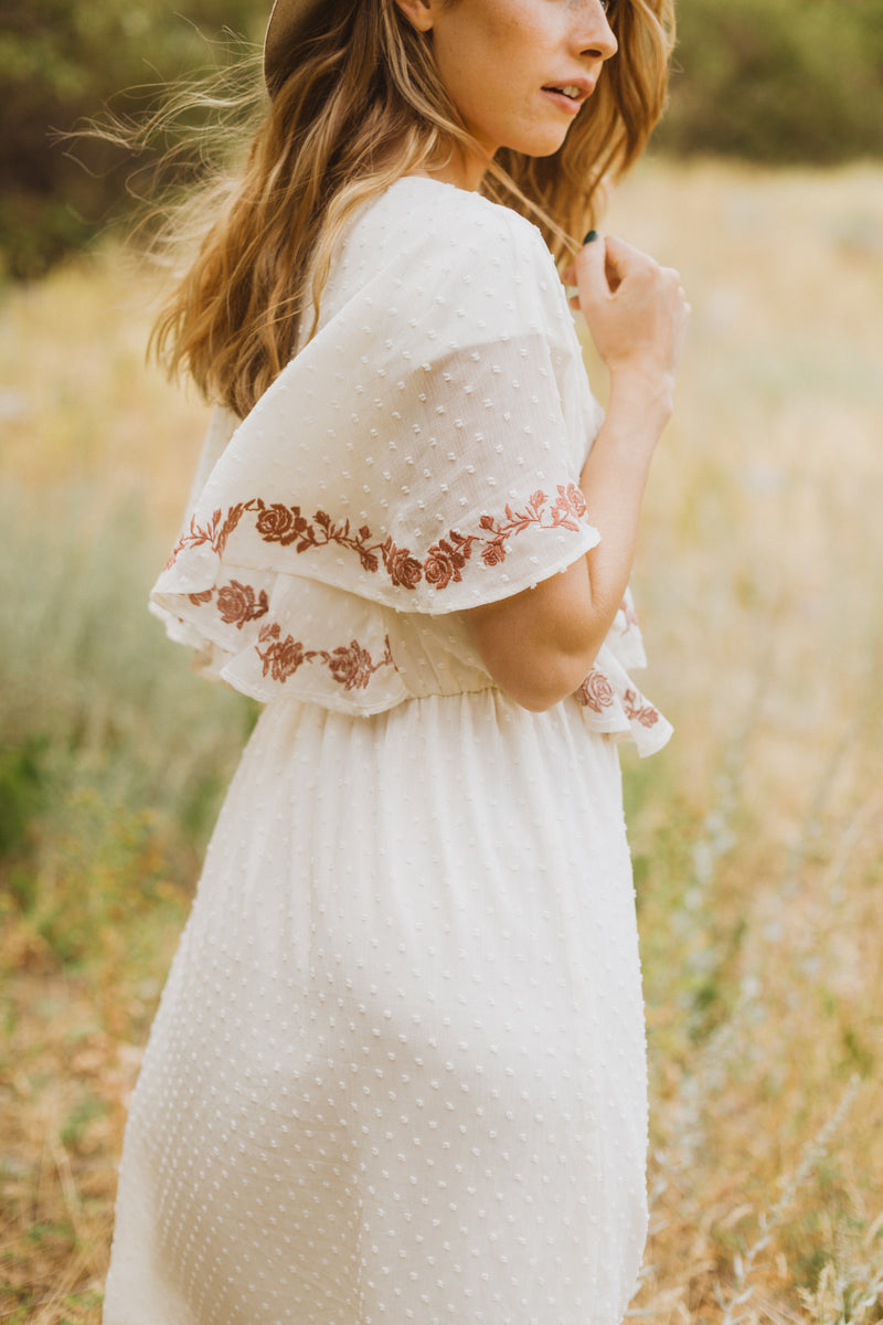 The Skipper Embroidered Swiss Dot Dress in Ivory
