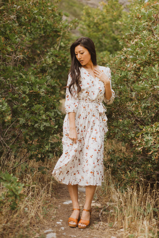 Piper & Scoot: The Dialogue Floral Midi Dress in Burgundy