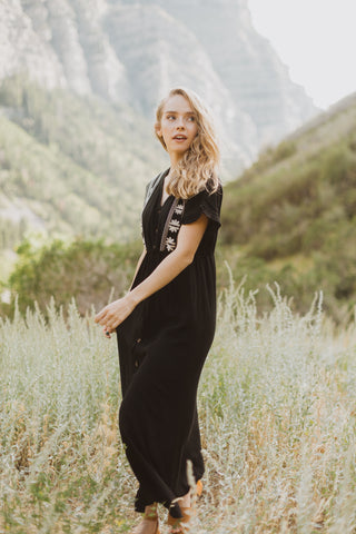Piper & Scoot: The Bianca Cinch Velvet Jumpsuit in Black