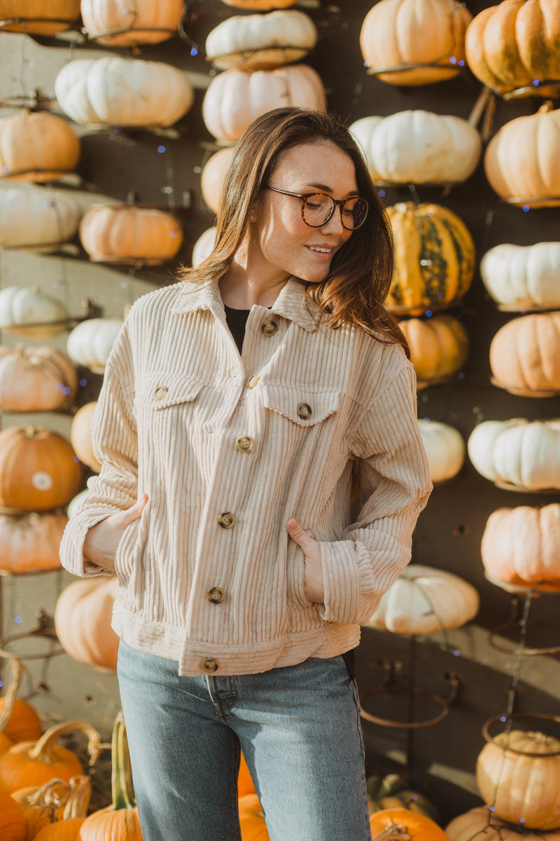 The Turner Corduroy Button Jacket in Beige, lifestyle shoot, front view