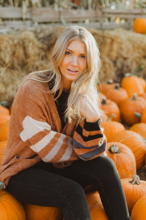 The Time Cozy Striped Cardigan in Clay