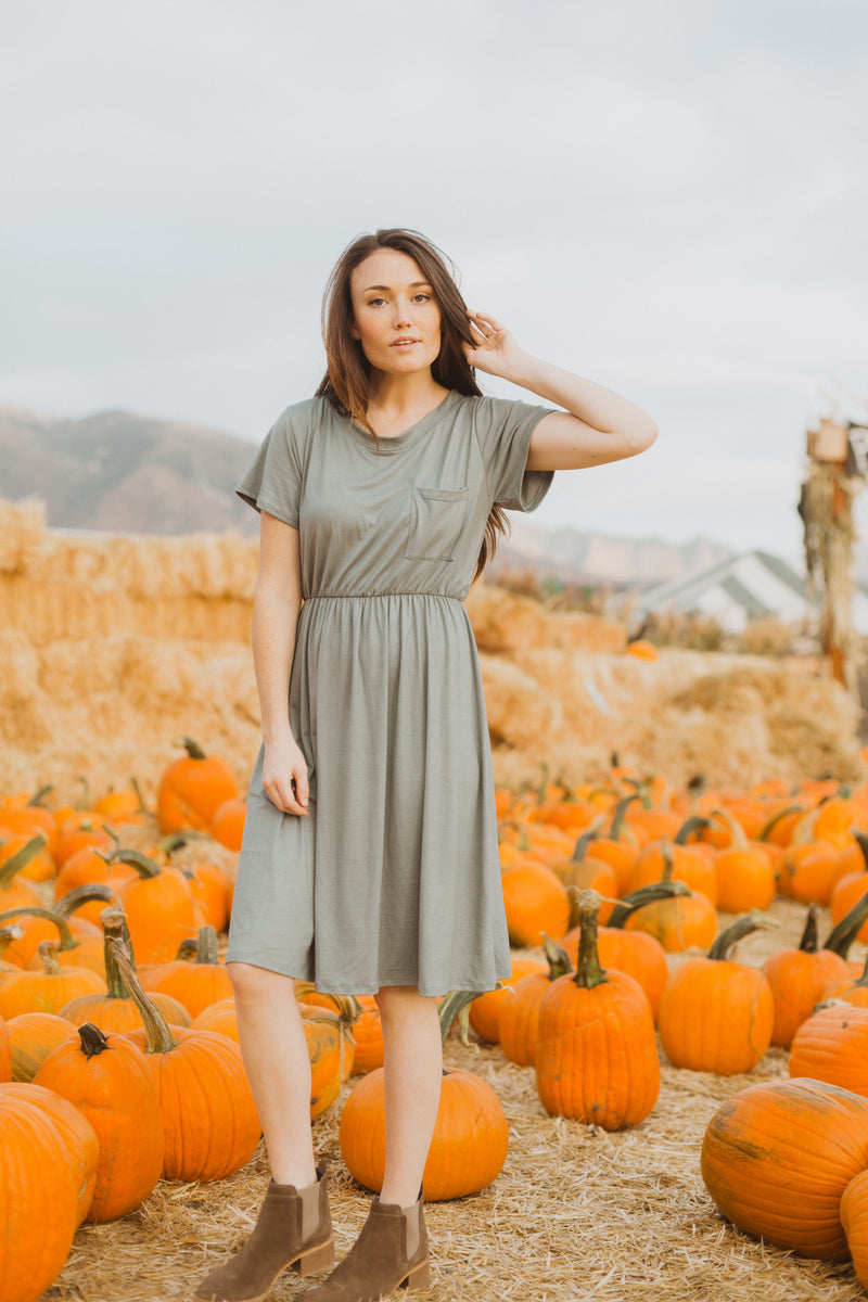 The Madeleine Casual Empire Dress in Sage
