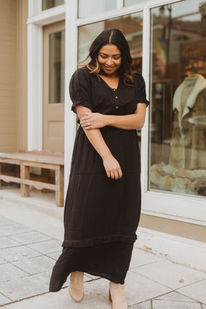 Piper & Scoot: The Curious Cotton Detail Dress in Black, lifestyle shoot; front view