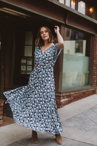 The Dalila Floral Ruffle Dress in Dusty Blue