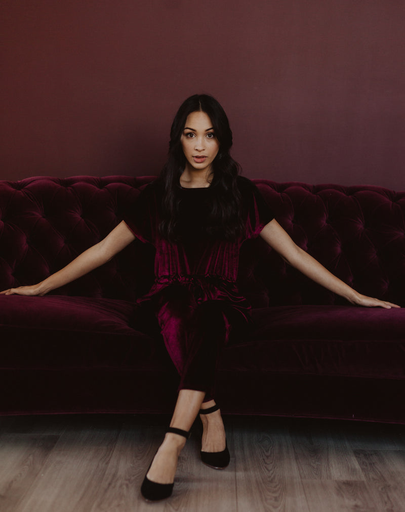 Piper & Scoot: The Bianca Cinch Velvet Jumpsuit in Burgundy