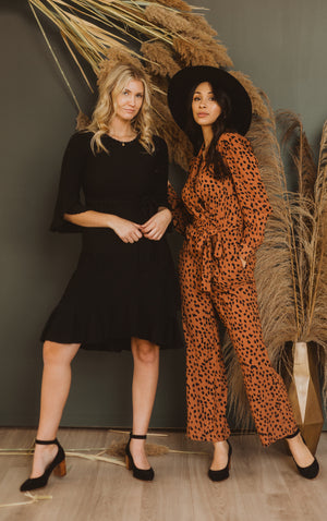 The Alter Collared Animal Print Jumpsuit in Camel