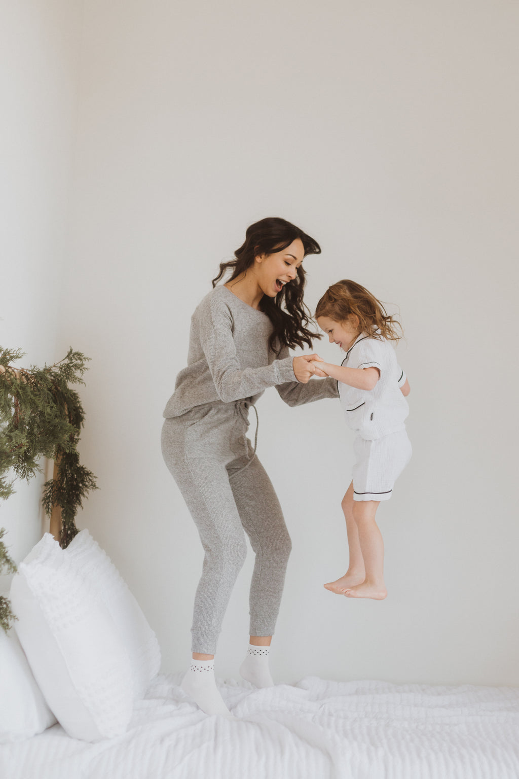 Piper & Scoot: The Sleep PJ Top in Heather Grey, studio shoot; side view paired with toddler
