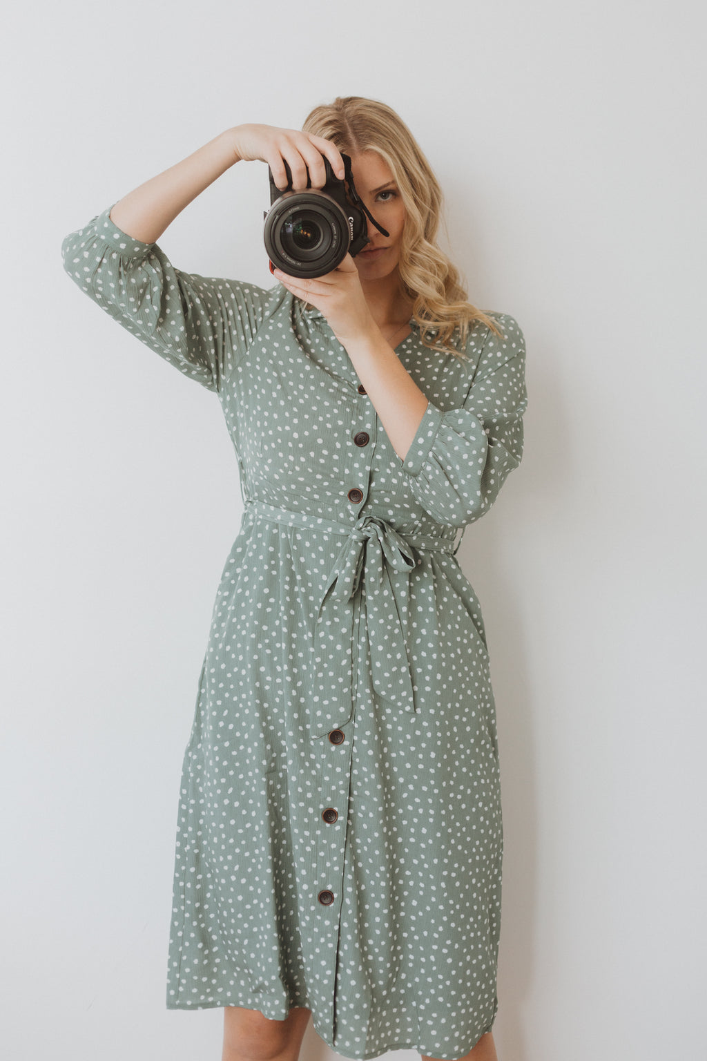 The One Patterned Collared Dress in Sage, studio shoot; front view