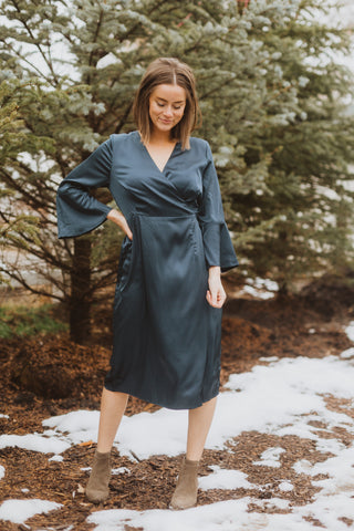 The Fancy Flutter Sleeve Dress in Sage