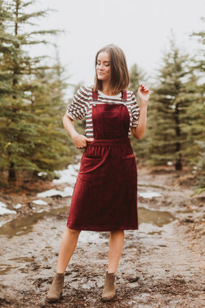 The Dottin Corduroy Jumper Dress in Burgundy