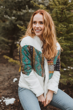 The Deanne Patterned Puffer Coat in Ivory, lifestyle shoot; front view