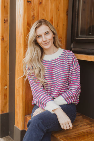 The Iris Speckled Sweater in Purple Combo, lifestyle shoot; front view