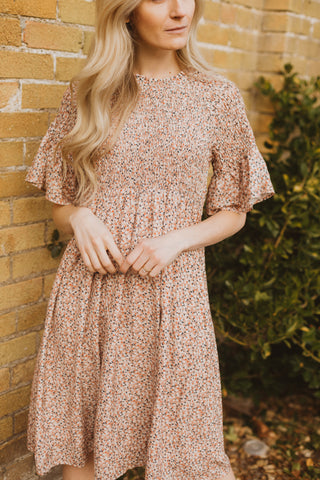 Piper & Scoot: The Mildred Floral Empire Dress in Cream