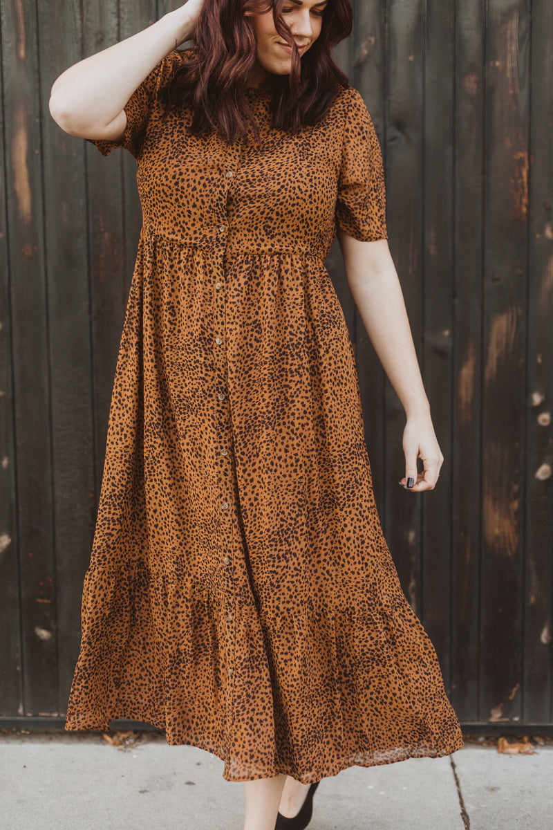 Piper & Scoot: The Lana Leopard Button Dress, lifestyle shoot; front view