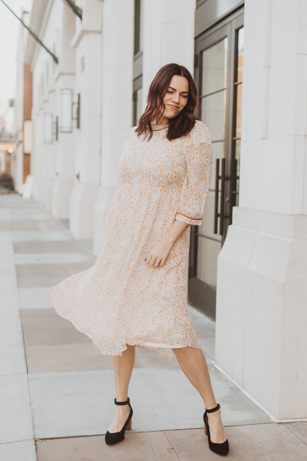 Piper & Scoot: The Chandler Patterned Detail Dress in Natural, lifestyle shoot; front view