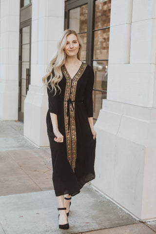 The Walsh Embroidered Maxi Dress in Rust