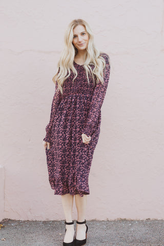The Soar Floral Ruffle Maxi Dress in Mauve