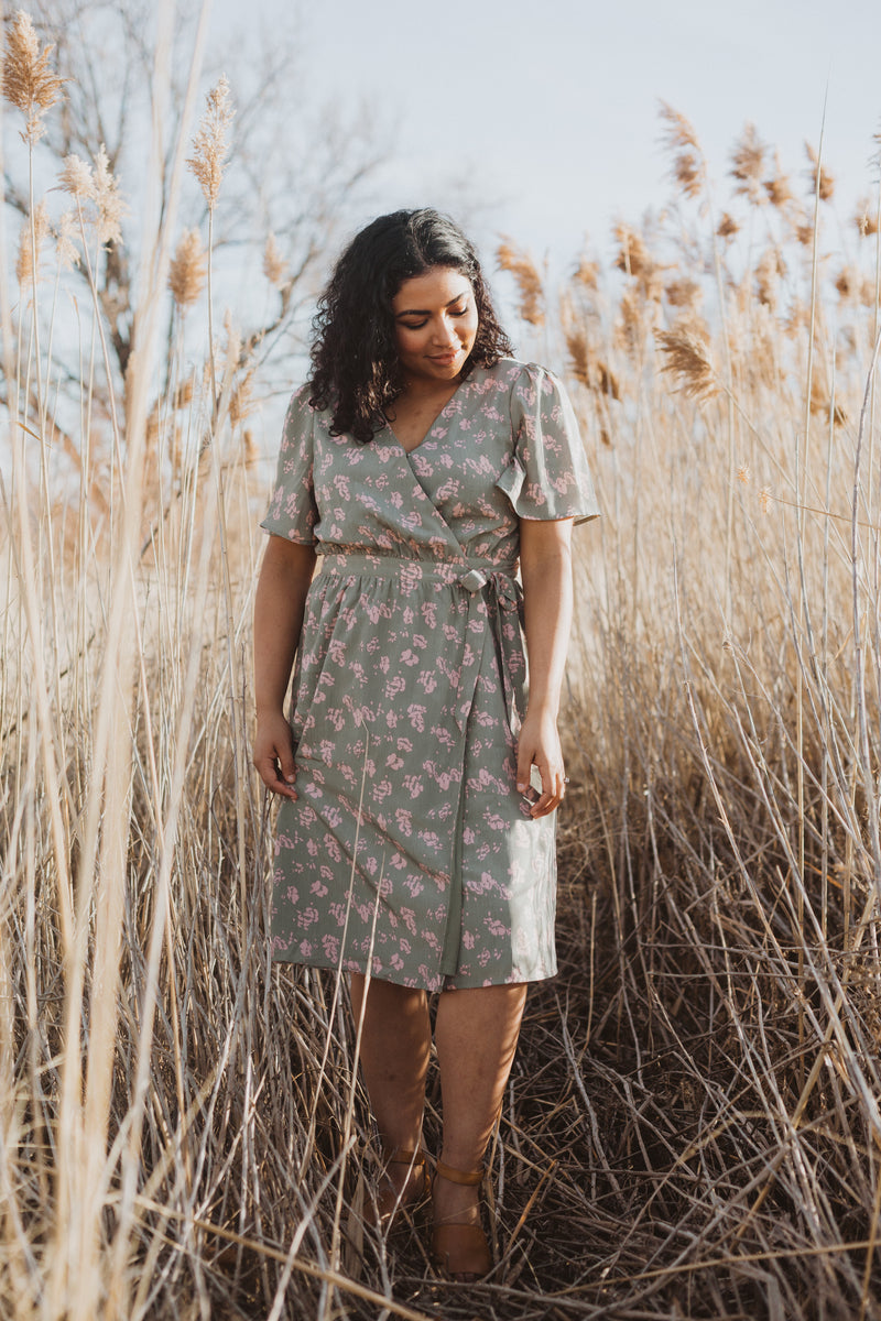 Piper & Scoot: The Alora Floral Wrap Dress in Sage, lifestyle shoot; front view