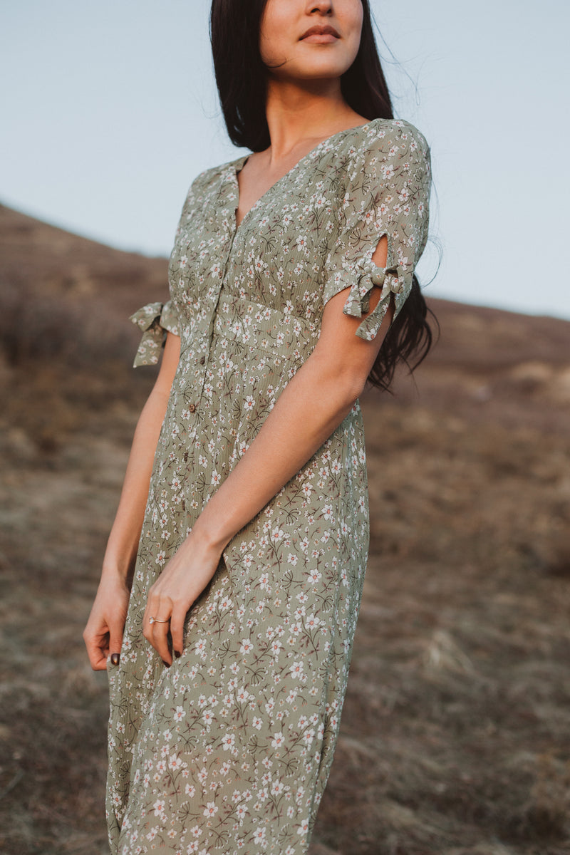 The Margo Floral Button Dress in Sage