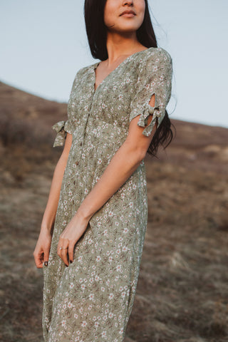 The Haven Floral Dress in Sage