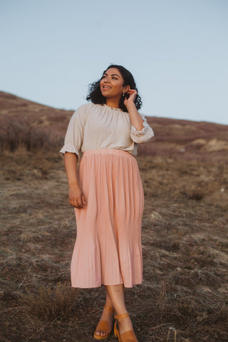 The Lilyan Satin Midi Skirt in Blush