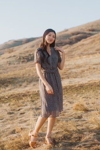The Ruth Patterned Wrap Dress in Navy