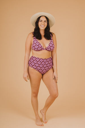SWIM: Kate Spade Flower French Bikini Top in Raisin, studio shoot; front view