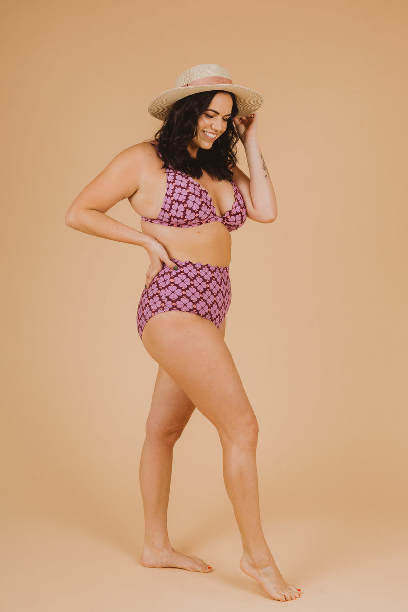 SWIM: Kate Spade Flower French Bikini Top in Raisin, studio shoot; side view