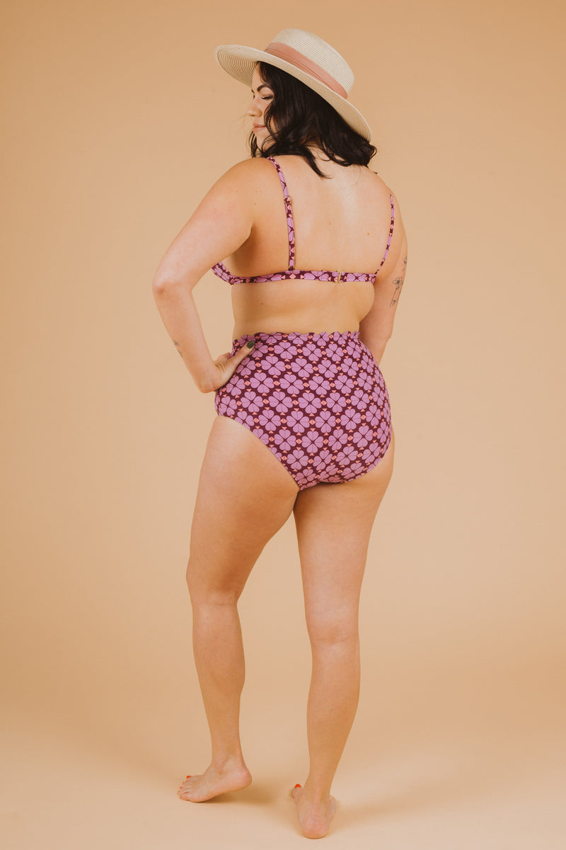 SWIM: Kate Spade Flower French Bikini Top in Raisin, studio shoot; back view