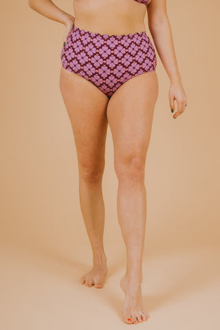 SWIM: Anne Cole Convertible High Waist Shirred Swim Bottom in Navy