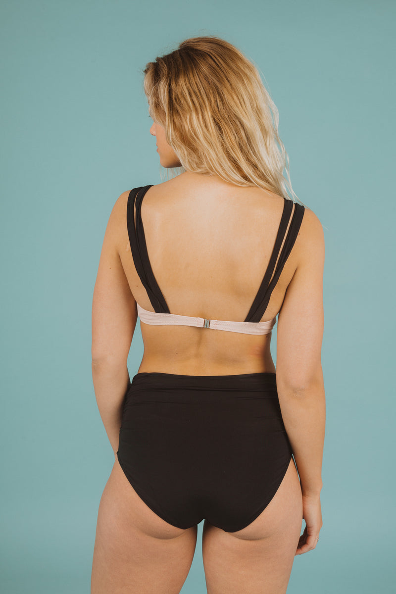SWIM: Grommet Strap Bikini Top in Blush, studio shoot; back view